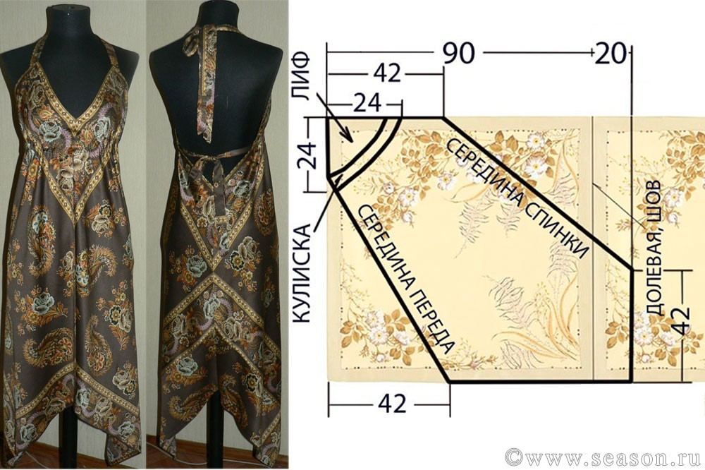 Размер платка для платья