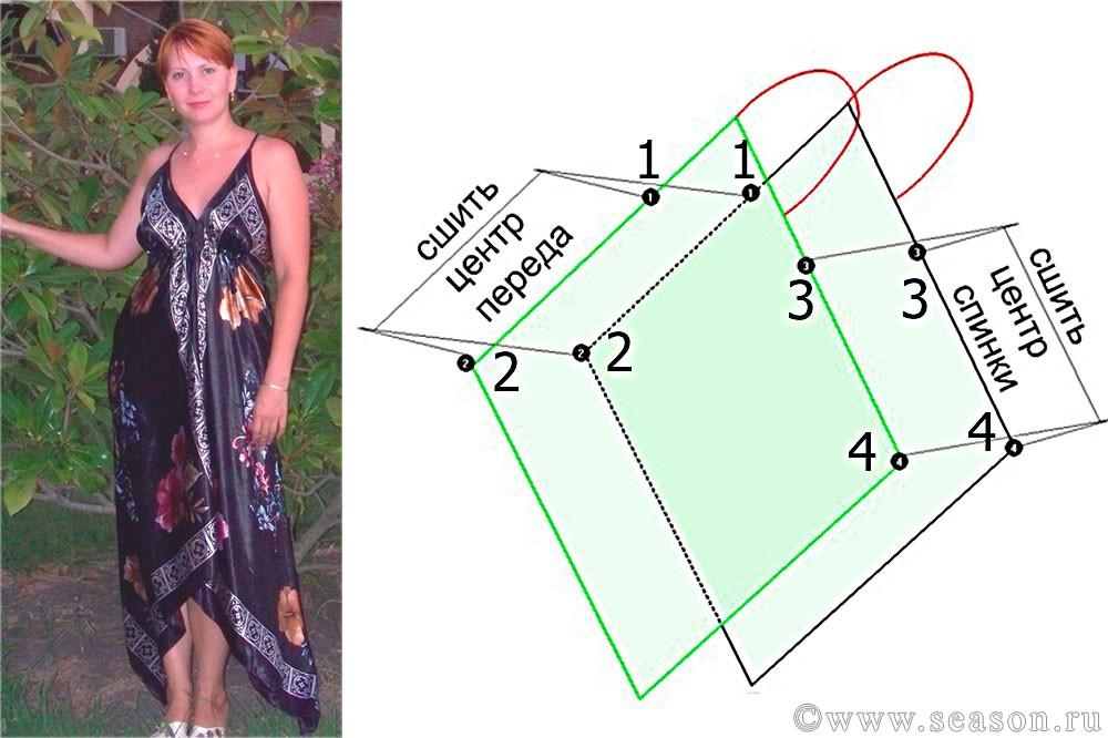 Как сшить платье из двух платков своими руками фото 48