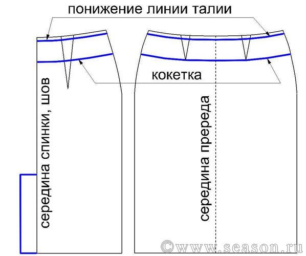 На заднем полотнище юбки уменьшите вытачку по боковому шву на 1,5-2 см